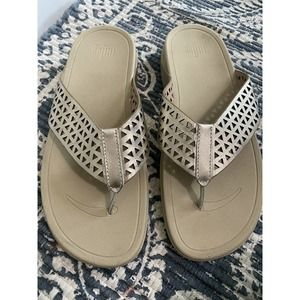 FitFlop Womens Leather Sandals Lattice Surfa
